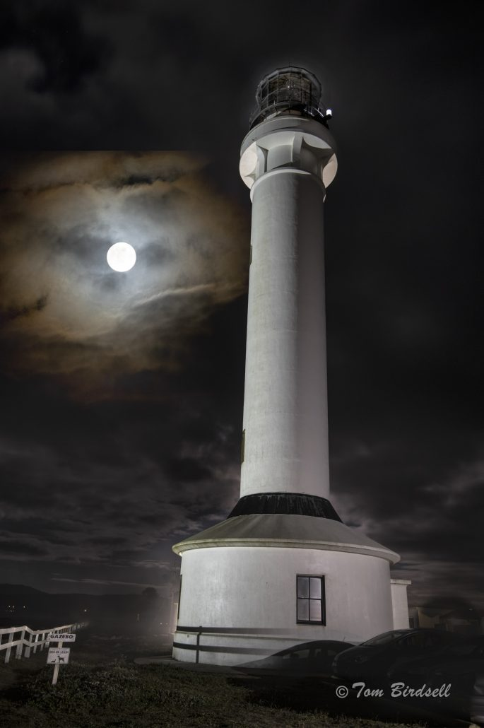 Point Arena Lighthouse Full Moon by Tom Birdsell